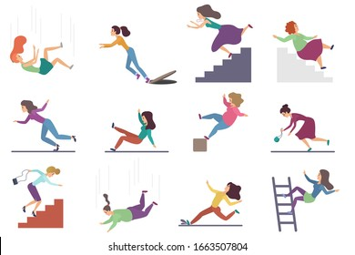 Set of flat vector injuring female woman falling down the stairs and over the edge, ladder, drop from the altitude, wet floor falling, stumbling on the sewer hall, tripping on stairs isolated