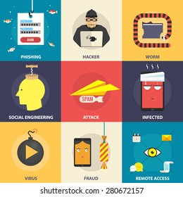 Set of flat vector modern icons, illustrations - hacking, hacker, phishing, fraud, cyber security. Design elements for web, mobile applications, infographics.