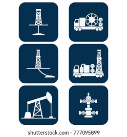 Set of flat vector onshore drilling icons: drilling for oil and gas, directional drilling, sucker rod pump, coiled tubing unit, mobile drilling rig, christmas tree