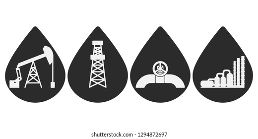 Set of flat vector onshore icons for oil and gas industry; graphic grey petroleum signs in drops of oil: sucker rod pump, drilling rig, pipeline, natural gas processing plant; industrial pictograms