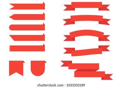 Set flat vector ribbons red