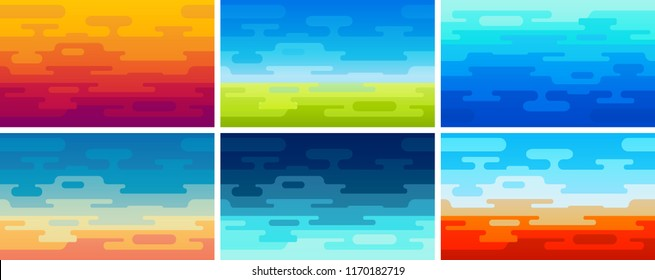 Set of Flat Vector Style Backgrounds in Different Colors and Ambience - Illustrations of Field, Ocean, Night and Sunset