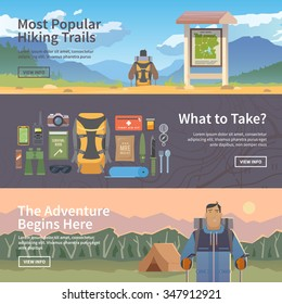 Set of flat vector web banners on the theme of Climbing, Trekking, Hiking, Walking. Sports, outdoor recreation, adventures in nature, vacation. Modern flat design.