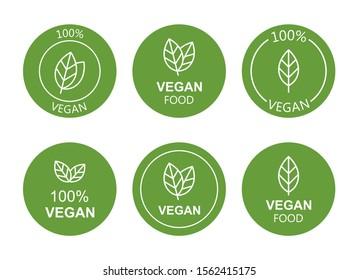 Set flat vegan icon on white background. Bio, Ecology, Organic logos and badges, label, tag. Vector illustration design.