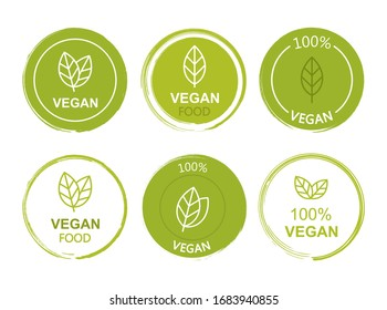 Set flat vegan icon on white background. Bio, Ecology, Organic logos and badges, label, tag. Vector illustration design.