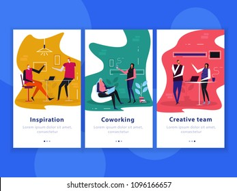 Set of flat vertical banners coworking, creative team, inspiration isolated on blue background vector illustration