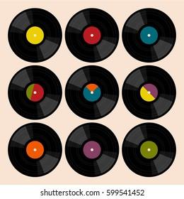 Set of flat vinyl records.
