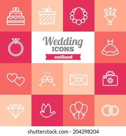 Set of flat wedding icons
