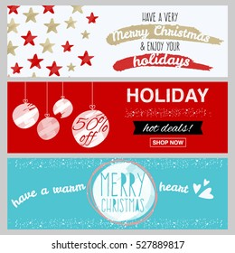 Set of flat winter holidays and Christmas banners for sale, shopping discounts and greeting cards. Simple design for flyers, cards, posters, vouchers and other printed materials.