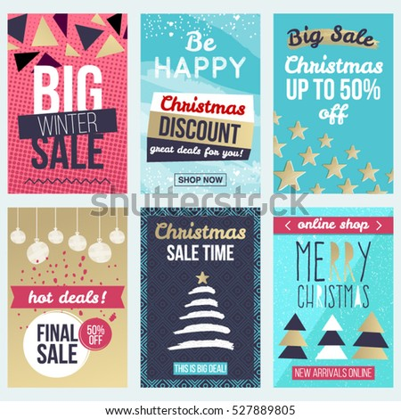 set of flat winter holidays and christmas banners for sale shopping discounts and greeting cards - Discount Greeting Cards