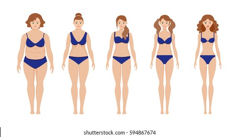 Set of flat women before and after diet vector illustration. Fat and slim girl. Cartoon weight loss woman