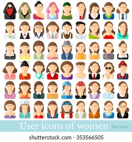 Set of flat women icons in different occupations age and style