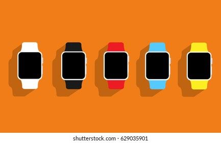 Set of flat wrist watches Apple watch on orange background. Vector illustration