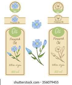Set of  Flaxseed Oil labels, hand draw vector illustration