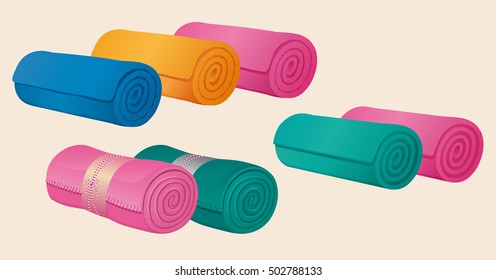 Set of fleece blankets, comforter or duvet and gymnastic mats, rolled into a roll or scroll. Color vector, isolated on background.
