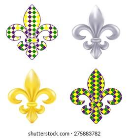 Set of fleur de lis Mardi Gras illustration
