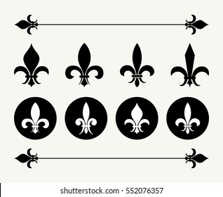 Set of fleur de lys design elements. Decoration for emblem, antique french flower illustration