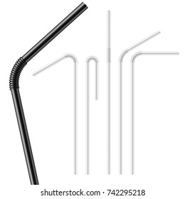 Set of flexible drinking straws, bent at different angles. For cocktail, juice, soda. Photo-realistic packaging mockup template with sample design. Vector 3d illustration.