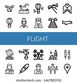 Set of flight icons such as Drone, Hot air balloon, Flamingo, Air hostess, Hostess, Plane, Heaven, Angel, Airplane, Pilot, Helicopter, Feather, Booster, Flight attendant , flight