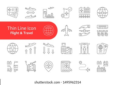 set of flight and travel lineart icon. flat stroke modern simple logotype collection graphic art design isolated on white background. concept of security lounge vip zone in air port and avia transfer