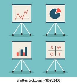 Set of flip charts with various data. Business info graphic / Flat vector illustration