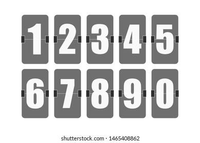 set of flipped scoreboard numbers in flat style, vector