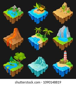 Set of floating platforms with different landscapes. Volcano with lava, desert with cacti, waterfall, island with lighthouse. Vector elements for mobile game