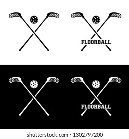 Set of floorball icons of ball and sticks on white and black background - vector illustration