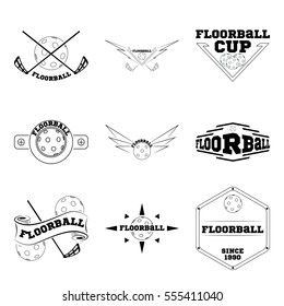 Set Floorball logo for the team and the cup on a white background