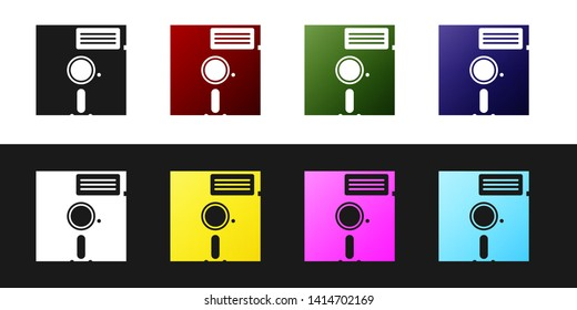 Set Floppy disk in the 5.25-inch icon isolated on black and white background. Floppy disk for computer data storage. Diskette sign. Vector Illustration