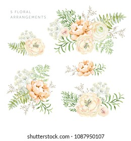 Set of the floral arrangements. Blush and cream peonies with forest green leaves and fern. Vector romantic flowers. Delicate greenery bouquets.