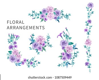 Set of floral arrangements for greeting card or wedding invitation on white background. Pink roses and peonies with green leaves. Vector romantic garden flowers in watercolor style.
