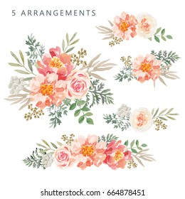 Set of the floral arrangements. Pink roses and peonies with green leaves. Vector romantic garden flowers.