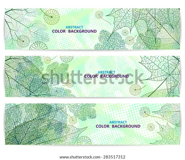 Set of floral banners or backgrounds with green leaves. Abstract vector illustration, EPS10