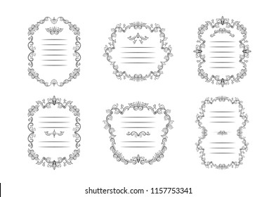 Set of floral borders and Frames with place for text. Copy space and dividers or flourishes. Italian vintage ornament. Isolated Greeting card or wedding, certificate and diploma. Headpiece template
