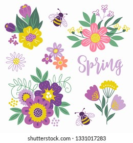 Set of floral bouquets with crocus, chamomile, tulips, bee, leaves, daisy on white background
