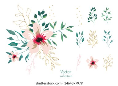 Set of floral branch. Botanic  Design for banner, wedding, poster, invitation, cover, placard, brochure, header.
