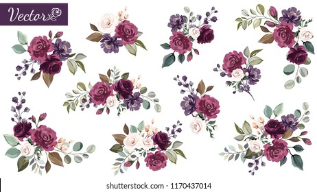Set of floral branch. Flower burgundy, purple rose, green leaves. Wedding concept with flowers. Floral poster, invite. Vector arrangements for greeting card or invitation design