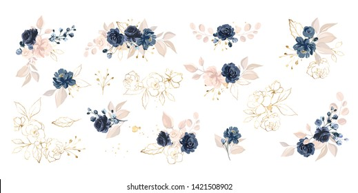 Set of floral branch. Flower navy blue rose, leaves. Wedding concept with flowers. Floral poster, invite. Vector arrangements for greeting card or invitation design