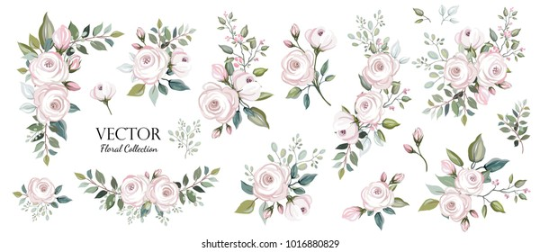 Set of floral branch. Flower pink rose, green leaves. Wedding concept. Floral poster, invite. Vector arrangements for greeting card or invitation design background
