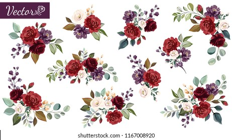 Set of floral branch. Flower red, burgundy, purple rose, green leaves. Wedding concept with flowers. Floral poster, invite. Vector arrangements for greeting card or invitation design