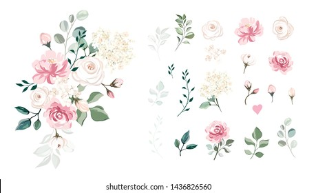 Set of floral branch for wedding. Flower pink rose, green leaves. concept with flowers. Floral poster, invite. Vector arrangements for greeting card or invitation design