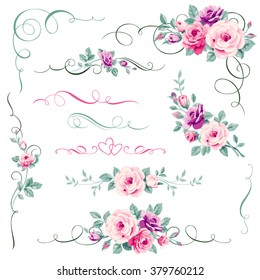 Set of floral calligraphic elements,dividers and corners for weeding invitations, greeting romantic card decorations.Decorative ornament with rose.Vector pink,purple flowers,heart and love adornment