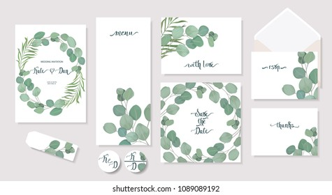 Set of floral card with eucalyptus leaves. Greenery frame.Rustic style. For wedding, birthday, party, save the date. Vector illustration. Watercolor style