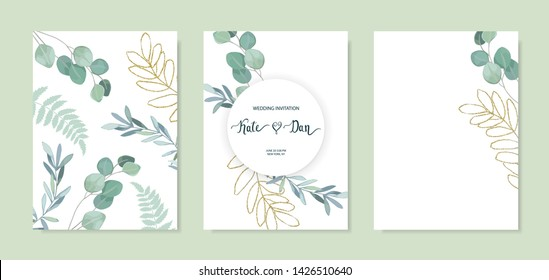 Set of floral card with eucalyptus leaves and gold elements. Greenery frame. Rustic style. For wedding, birthday, party, save the date. Vector illustration. Watercolor style