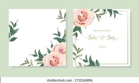 Set of floral card with herbal leaves and garden roses. Greenery frame.  For wedding, birthday, party, save the date. Vector illustration.