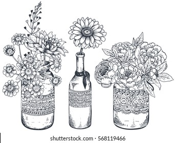 Set of floral compositions. Bouquets with hand drawn flowers and plants in vases and jars. Monochrome vector illustrations in sketch style.