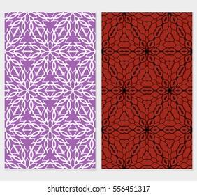 set of floral creative geometric ornament. Seamless vector illustration. For interior design, wallpaper, invitation
