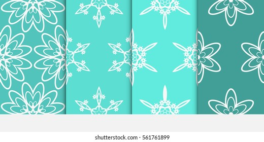 set of floral creative geometric ornament on turquoise color background. Seamless vector illustration. For interior design, wallpaper, invitation