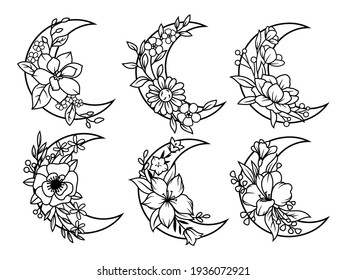 Set of floral crescent moon. Collection of silhouettes decorative beautiful flower arrangements. Botany. Vector illustration for trendy t-shirt design.Tattoo.